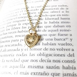 GOLD HEART DIAMOND DELICATE NECKLACE